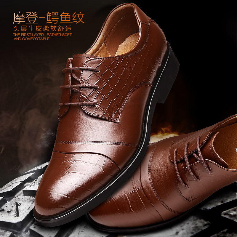 France dayton men's fall men's business suits first layer of leather shoes men of england pointed lace wedding shoes men