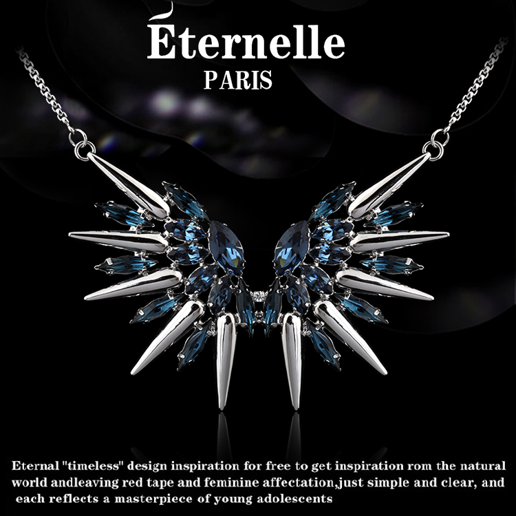 France eternelle using swarovski elements crystal necklace short section of national wind pendant female pendant