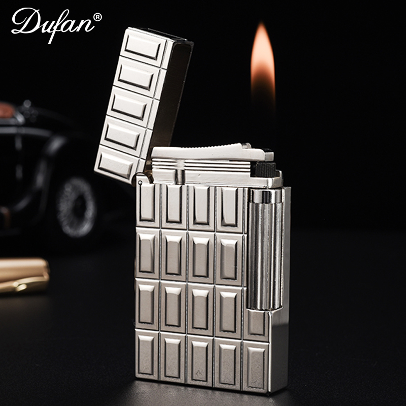 France genuine mirror dufan vatican broke all copper lighter refillable lighters windproof lighter side wheel custom lettering
