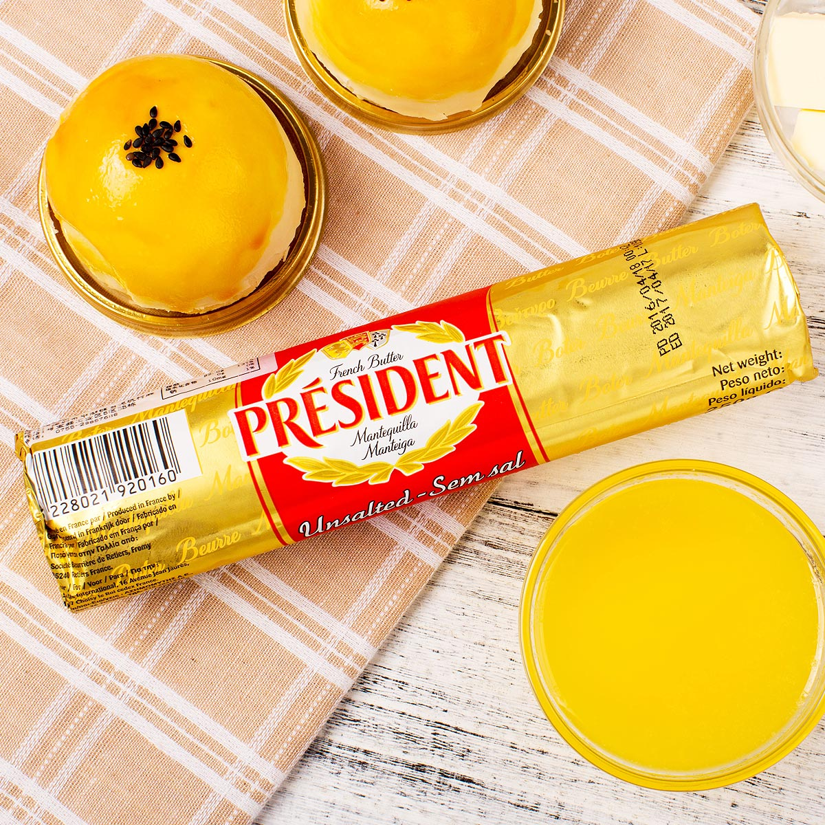 France imported president mild butter baking ingredients of animal butter unsalted butter bread roll 250g