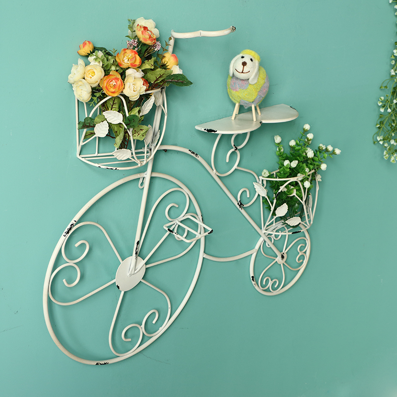 France mu town vintage bike creative decorative wrought iron wall flower garden continental creative home decor