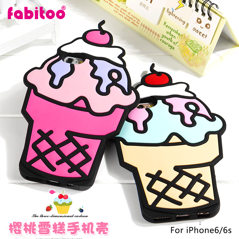 France pyrene rabbit apple iphone6/s cherry ice cream phone protective cover creative cartoon soft silicone outer shell 4.7