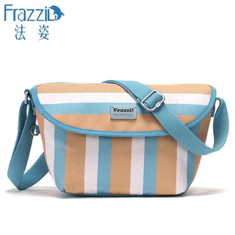 81e871158d Get Quotations · Frazzil law pose nylon messenger bag female early autumn  new casual striped canvas travel bag