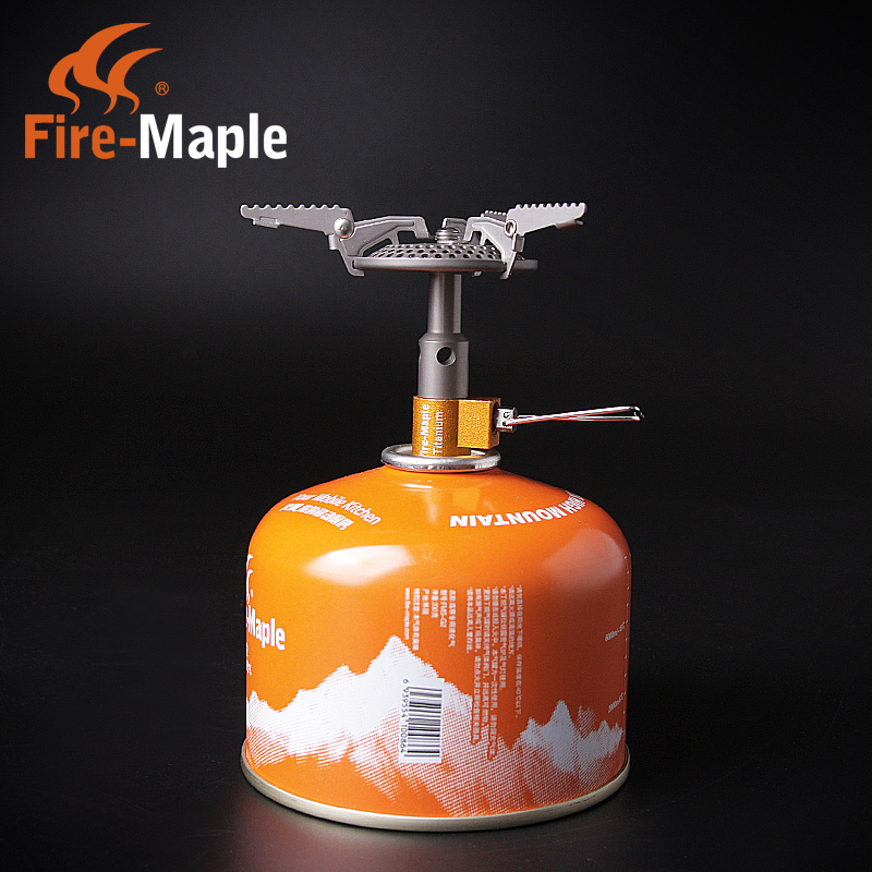Free shipping authentic outdoor fire maple fms-116t titanium metal integrated gas stove camping stoves picnic ultralight
