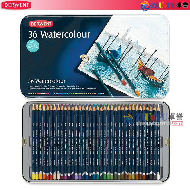 Free shipping british derwent have rhyme expert soluble color of lead soluble colored pencils 36 color iron boxed