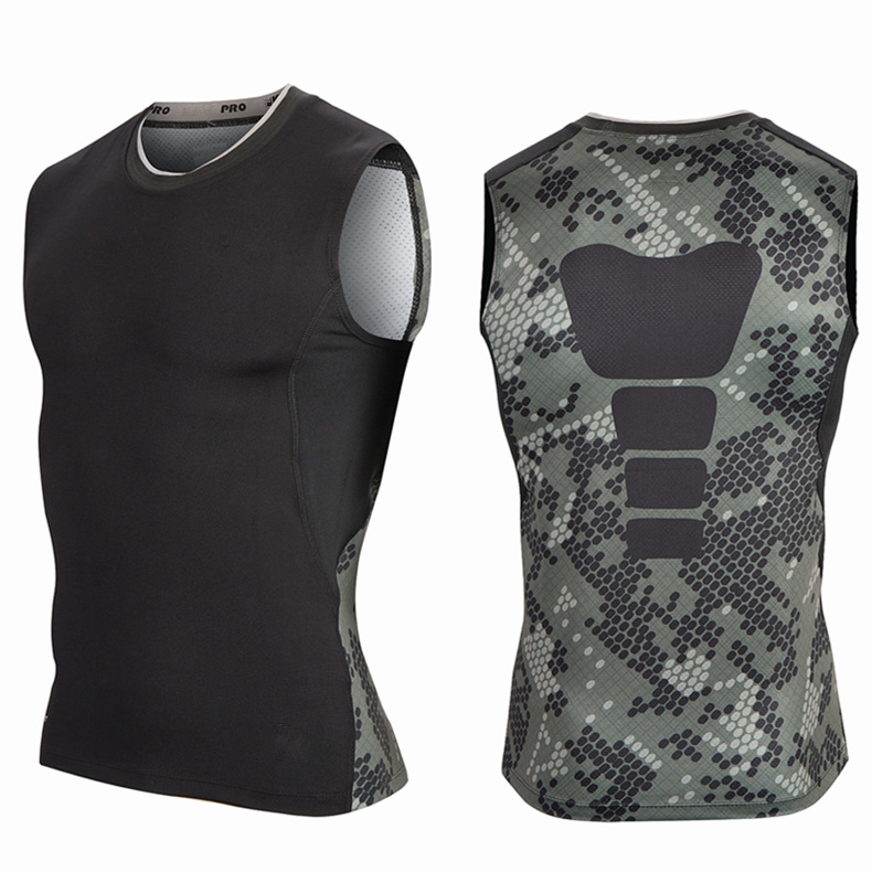 Free shipping camouflage serpentine pro tight vest basketball team sports training jersey sleeveless t-shirt bottoming warm