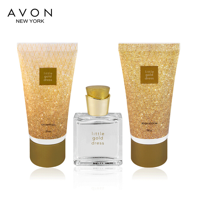 Free shipping counters authentic avon/avon perfume oscars dress mini set (eau de parfum + bath + body)