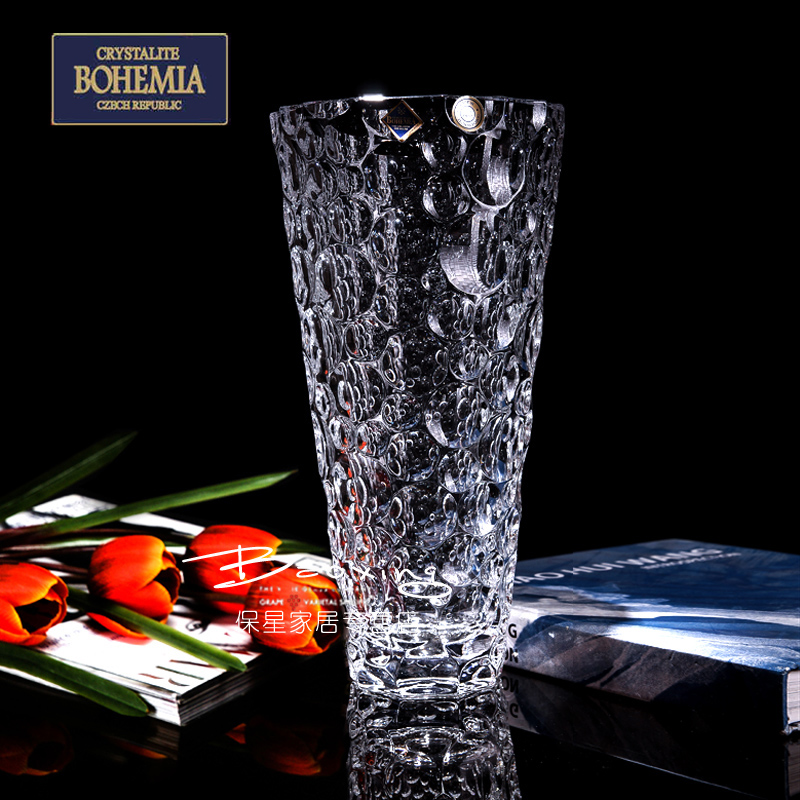 Free shipping czech bohemia euclidian modern minimalist fashion transparent crystal glass vase decorated living room furnishings