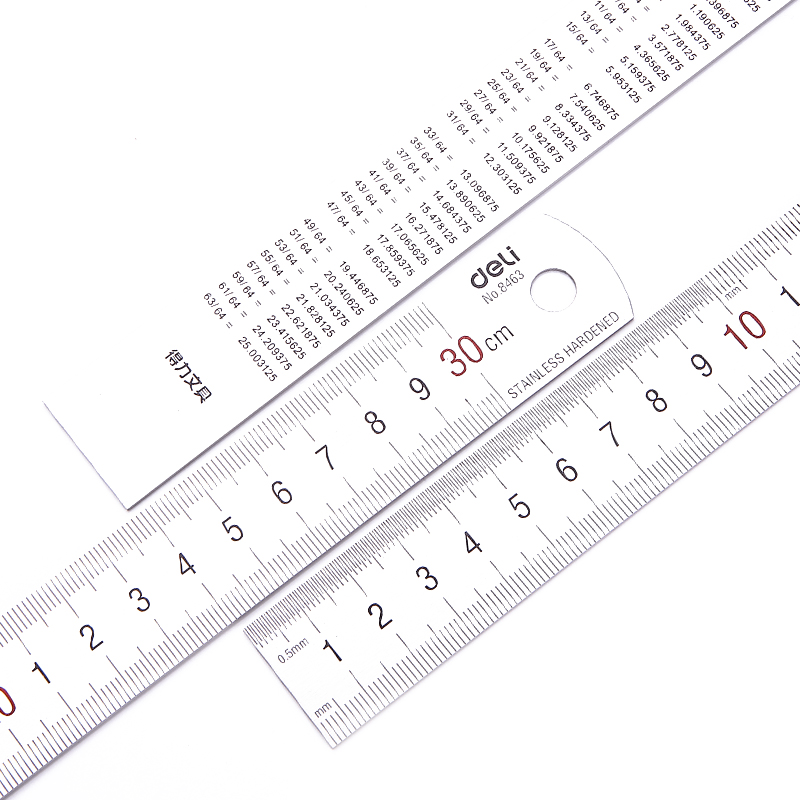 Free shipping deli 30cm stainless steel ruler steel ruler 20cm ruler 50cm steel ruler ruler measurement tools 15 cm