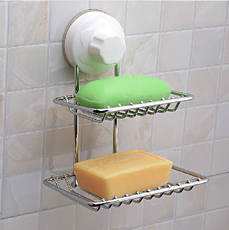 Free shipping double celebration strong suction cup soap holder double sucker sucker soap holder soap holder soap box 1022