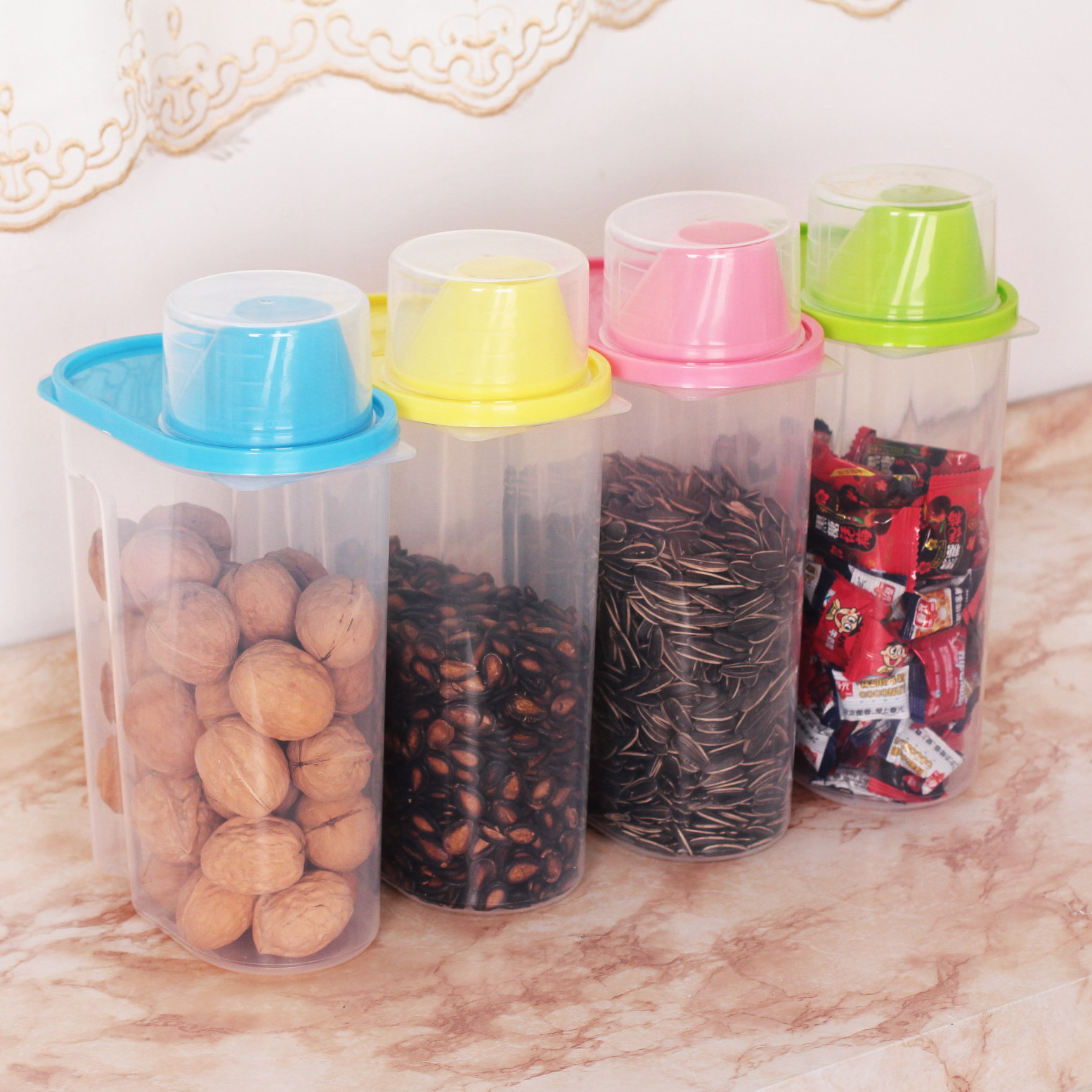 Free shipping exposed oversized kitchen grains 2.5l sealed cans family of four plastic grain cereals canister canister storage tank