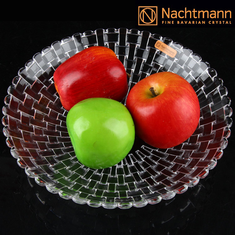 Free shipping germany imported nachtmann simple large crystal glass fruit bucket fruit plate fruit plate fashion gift