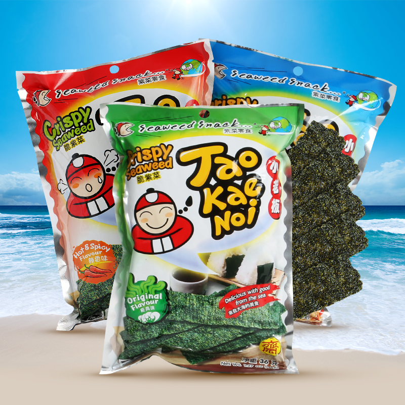 Free shipping imported from thailand nori seaweed small business owners spicy seafood flavor instant casual snacks 36g * 3 bags of seaweed