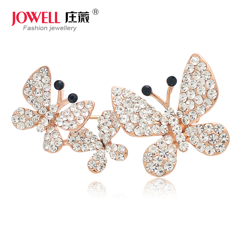 Free shipping jewelry accessories female suit new fashion alloy rhinestone butterfly brooch pin brooch korean version of 588
