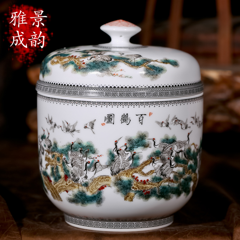 Free shipping jingdezhen ceramics painted american sealed cans pu'er tea caddy tea caddy trumpet ornaments