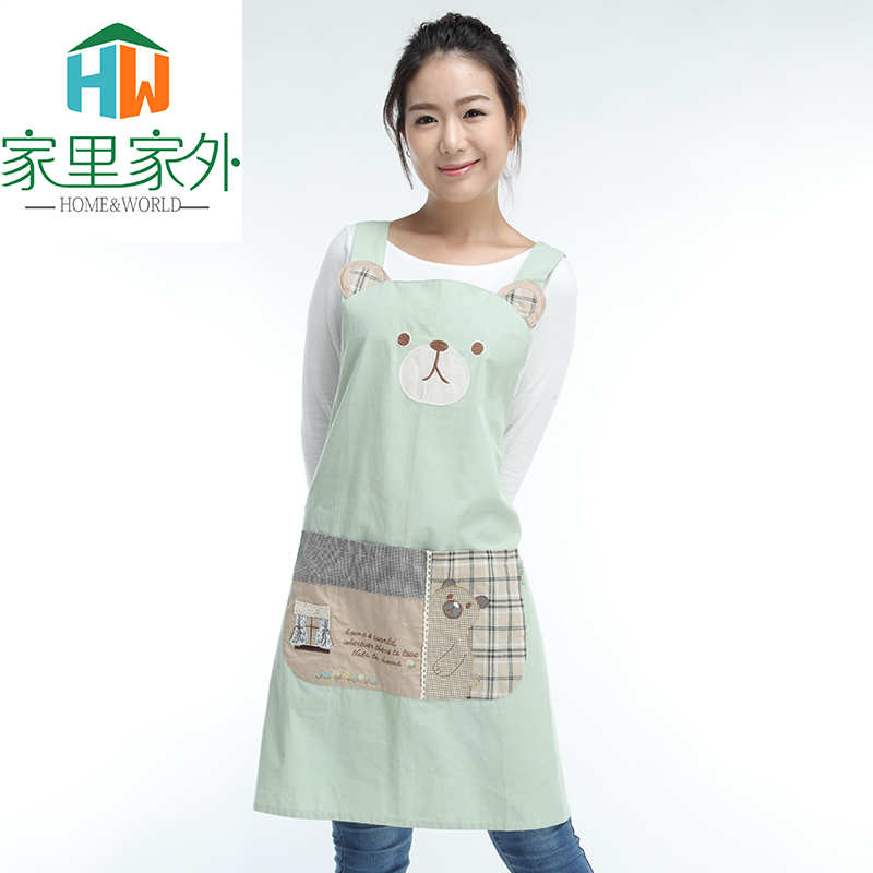 Free shipping kitchen aprons korean fashion cute cotton adult overclothes oilproof home sleeveless apron custom
