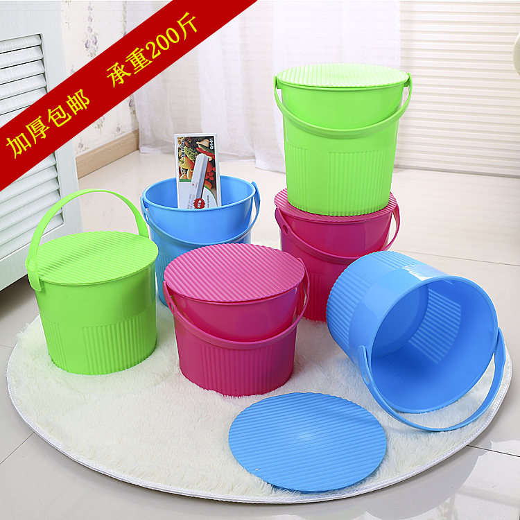Free shipping multifunctional car can sit thicker plastic storage stool storage bucket fishing bucket bucket bucket with lid toy storage barrels