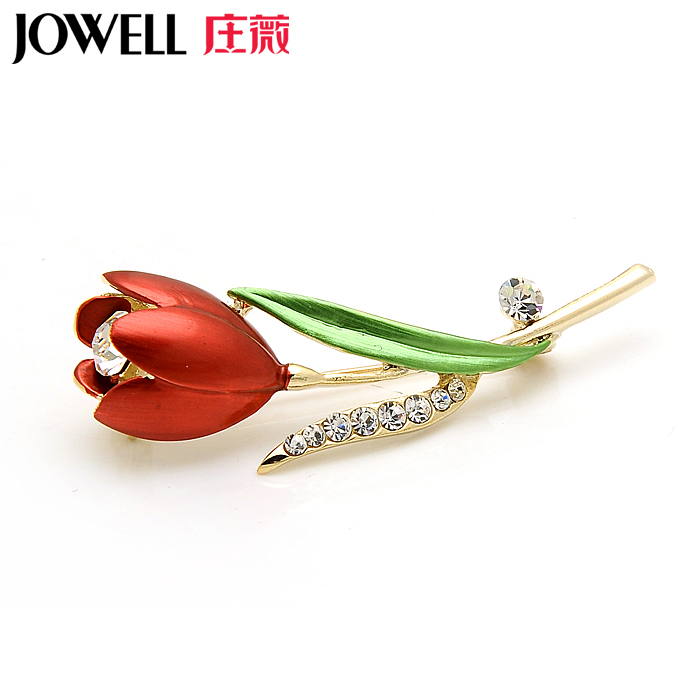 Free shipping new fashion jewelry alloy suit female accessories tulip brooch rhinestone brooch pin brooch korean version of 758
