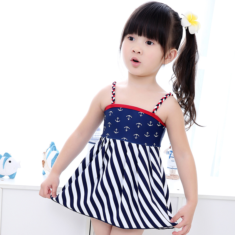 Free shipping new korean version of the children woven sling girls swimsuit baby swimsuit split skirt style swimsuit with cap
