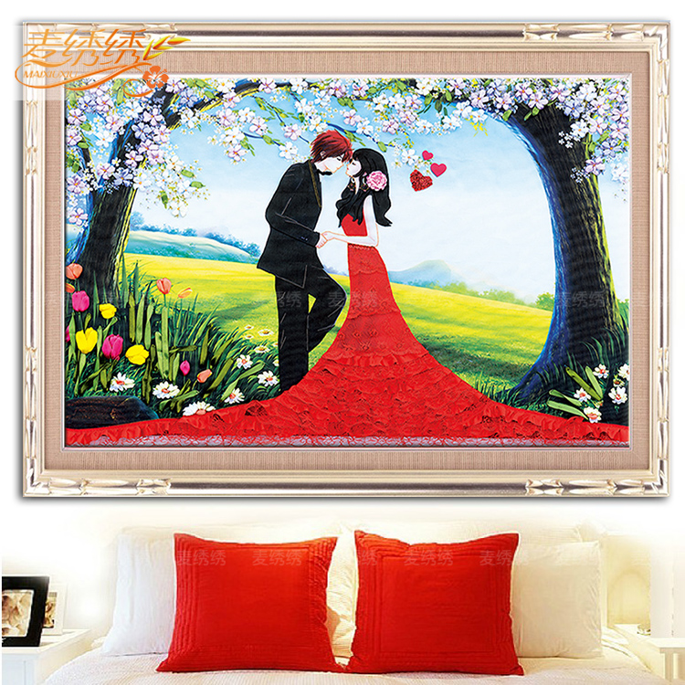 Free shipping new ribbon embroidery bedroom living room 3d color paintings wedding we fell in love 3 colors happy convention