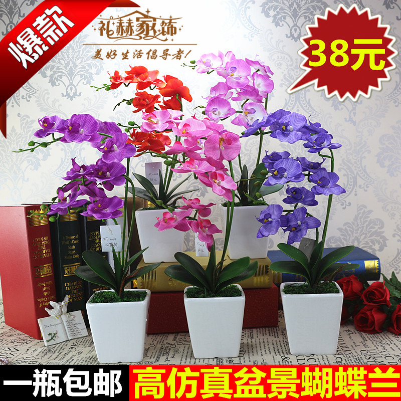 Free shipping phalaenopsis artificial flowers artificial flowers suit the living room bedroom placed floral decoration flower plastic flowers dried flowers silk flower