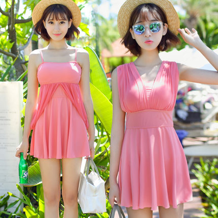 aa0a75caa9634 Get Quotations · Free shipping pretty pedicle korea wind cup swimsuit  female steel prop gather piece skirt hot springs