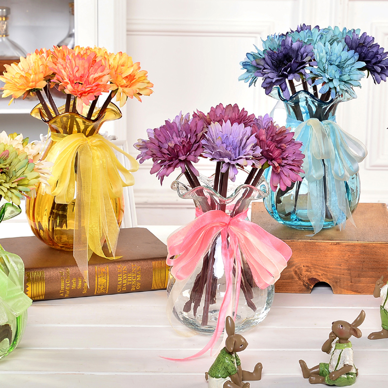 Free shipping retro glass vase suit artificial flowers artificial flowers gerbera decorative flowers suit the living room coffee table at home