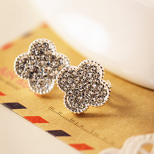 Free shipping south korea full of diamond jewelry lucky clover earrings earrings earrings without pierced ears padded ear clip 0062
