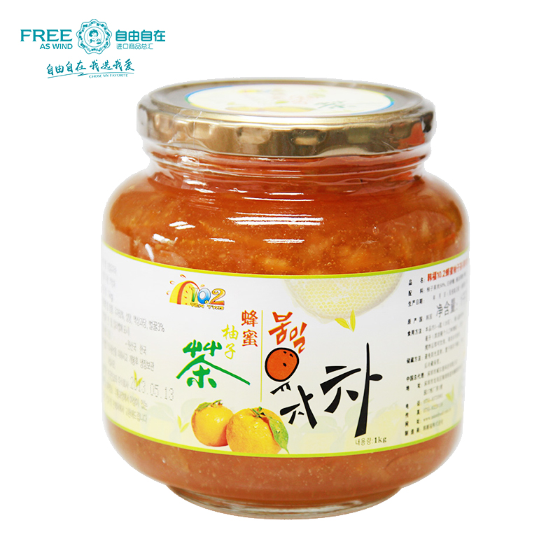 Free shipping south korea imported han fu 10.2 honey citron tea citron tea 1000g pulp drinks prepared and ready to eat