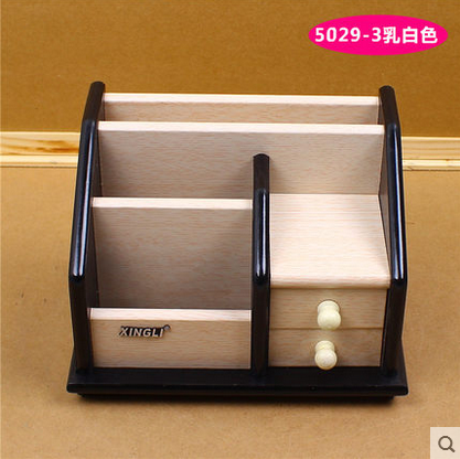 Free shipping wooden pen holder with drawer wooden pen multifunction pen combination of creative office desktop pen holder