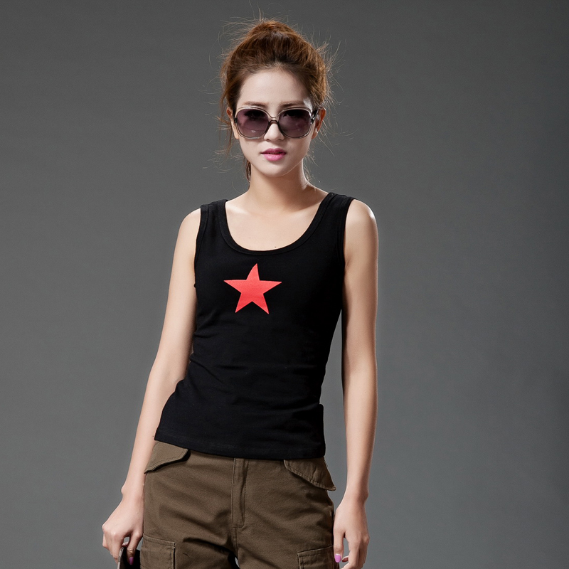 Freedom rider outdoor slim halter tops women's casual short paragraph cotton leggings outer wear vest t-shirt star