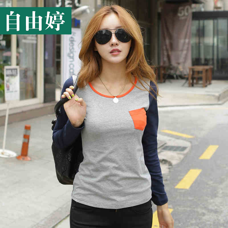Freedom ting 2016 spring and autumn new women bottoming shirt korean version of cultivating wild female cotton round neck long sleeve t-shirt female
