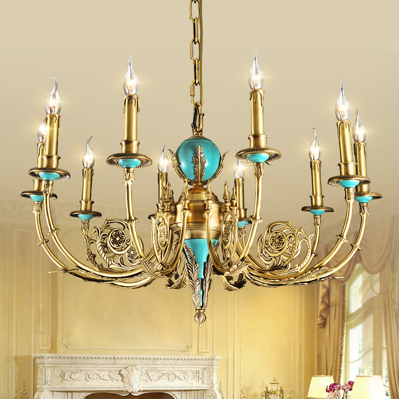 French european candle chandelier lamp copper art and resects all copper lamp american living room bedroom lamp lighting lamps