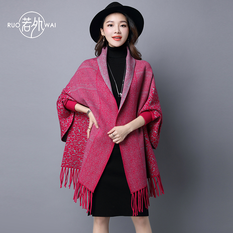 Fringed shawl scarf dual female spring and autumn thick knit cardigan cape sided with sleeves cape coat