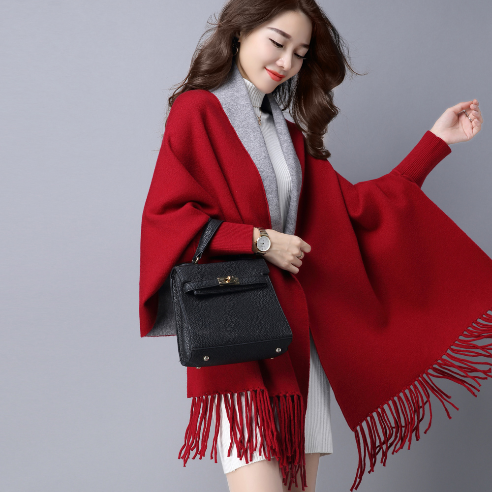 Fringed sweater knit scarf shawl dual sided cape cape coat thick cardigan sweater autumn and winter women