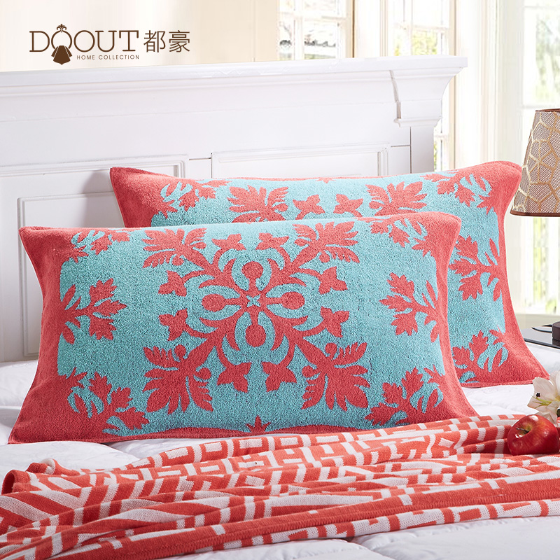 都豪frosting large adult couple cotton pillow covers one pair of genuine increase plus thick jacquard pillow free shipping