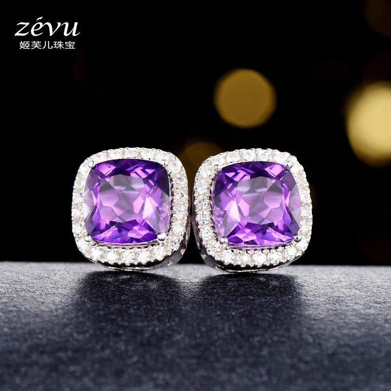 Fu ji children multicolored female natural amethyst earrings 925 silver purple gem earrings ear jewelry in europe and america upscale gift