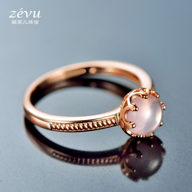 Fu ji children natural crystal ring 925 silver plated rose gold ring ring korean jewelry rose quartz pink crystal gem