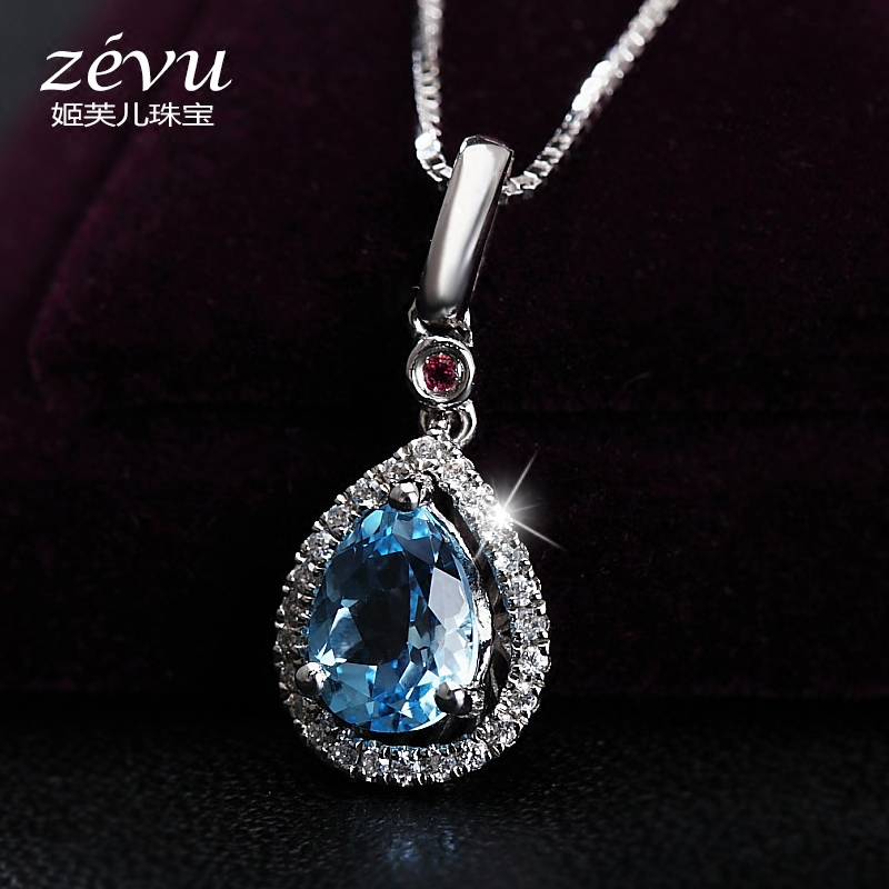 Fu ji children topaz pendant female natural amethyst 925 silver necklace clavicle chain love valentine's day gift to send Girlfriend