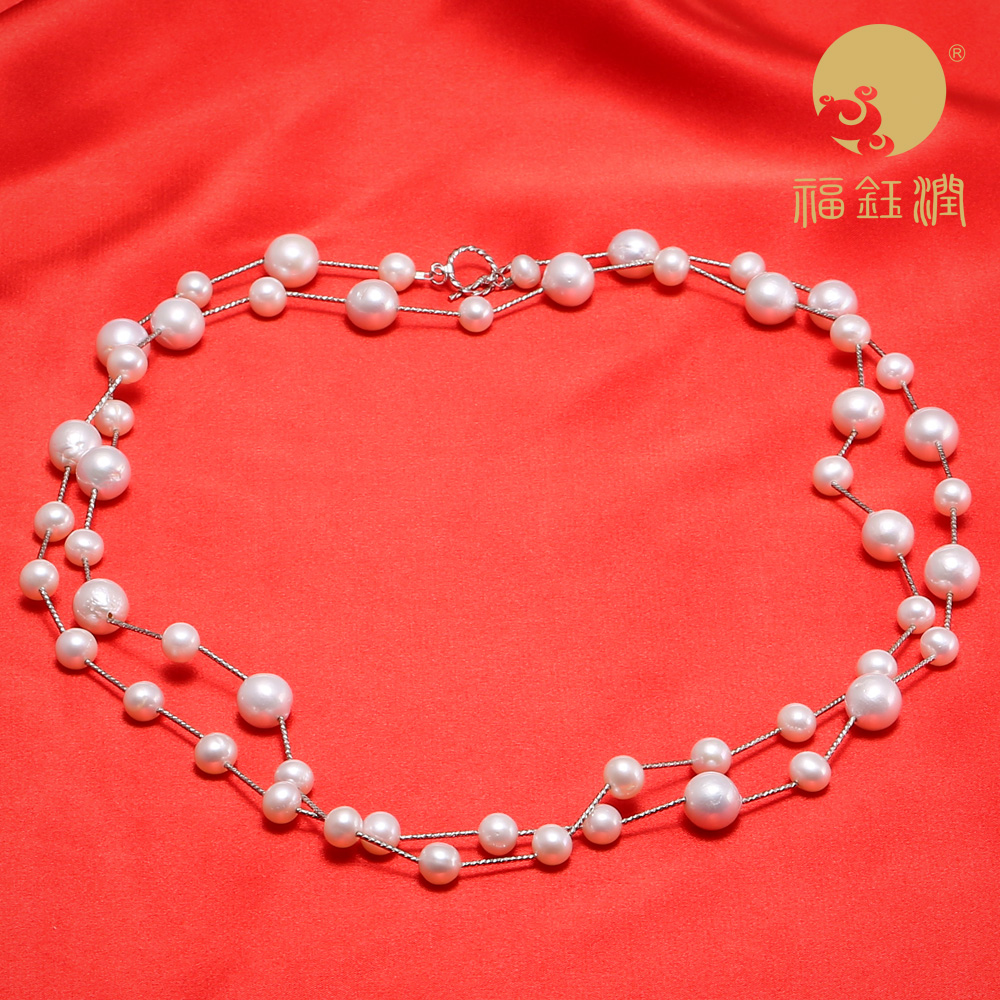Fu yu yun brand freshwater pearl necklace sweater chain nearly flawless light to send his girlfriend for her mother to send earrings shipping