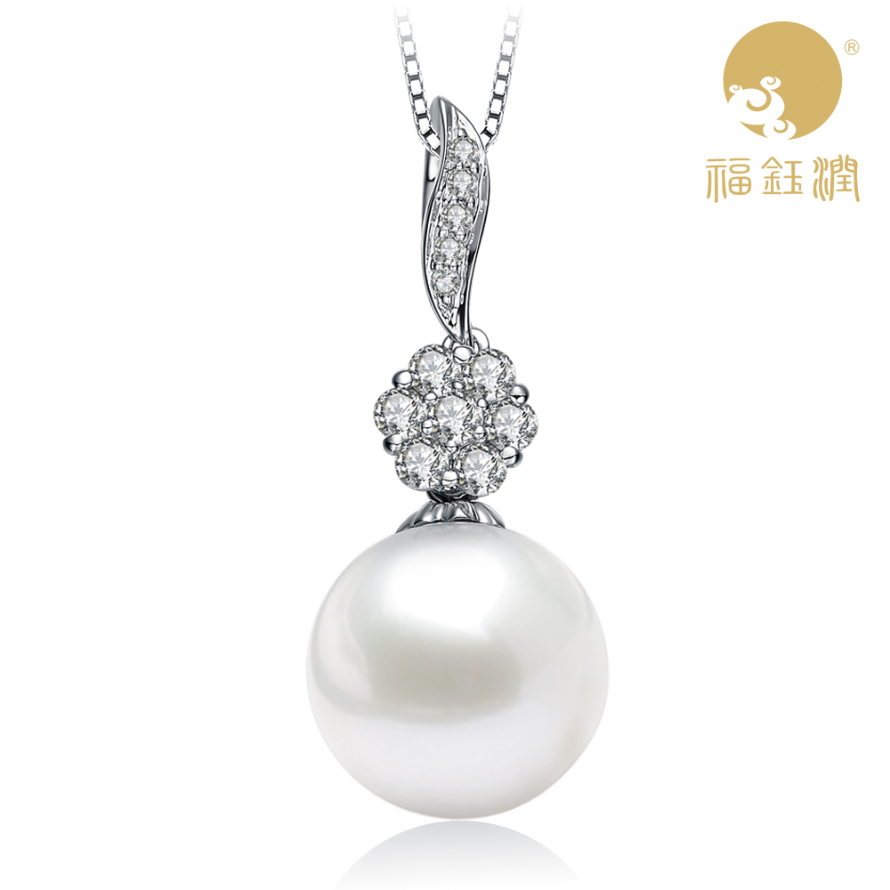 Fu yu yun genuine freshwater pearl pendant necklace light pink gold silver chain clavicle female fashion gift free shipping