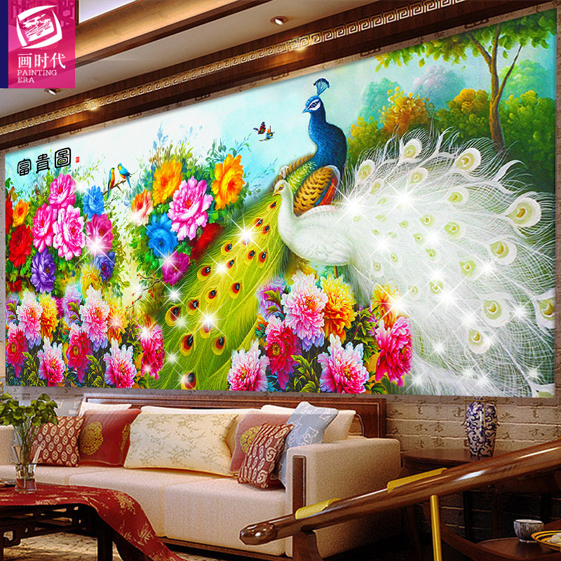 [Full] 5d cube diamond drill diamond painting the living room blossoming peacock diamond stitch embroidered diamond masonry painting
