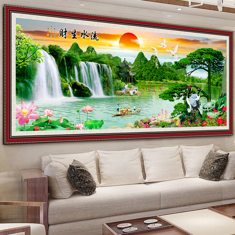 Full diamond stitch new living room making money flowing landscapes cube diamond drill painting full round diamond drill diamond paste painting
