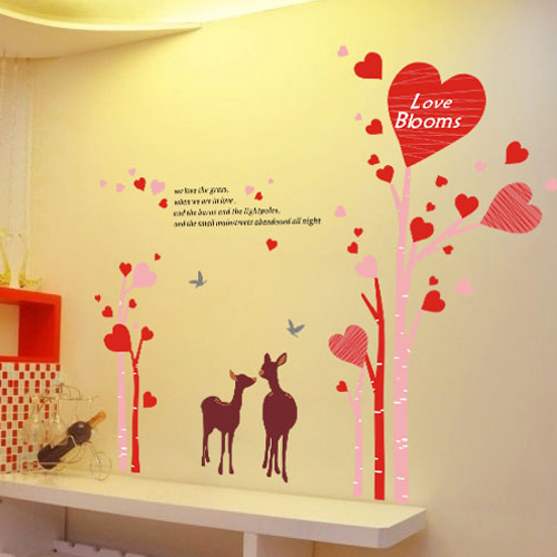 Furniture decoration removable wall stickers romantic bedroom living room bedside tv background wall stickers love tree