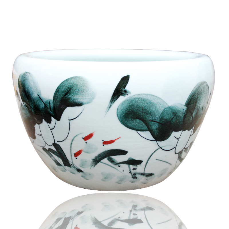 G003 jingdezhen ceramics painted aquarium fish tank water lily lotus bowl aquarium tank aquarium fish tank buy one get three