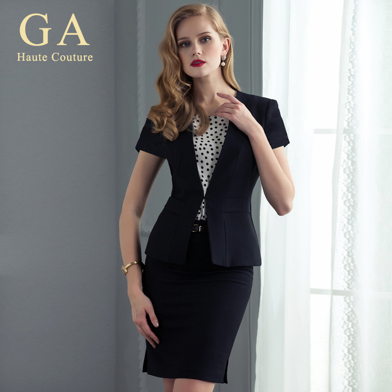 Ga short sleeve ladies dress suit skirt suit overalls big european and american high temperament career suits ol female summer