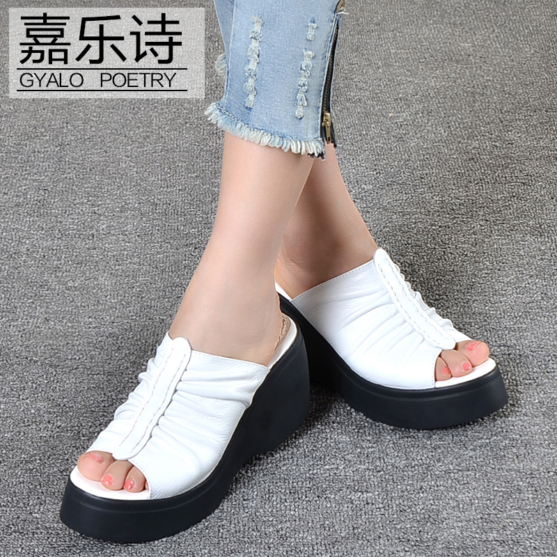 Gallop poem summer new high heels sandals female slope with thick crust leather platform shoes word type sandals and slippers beach slippers