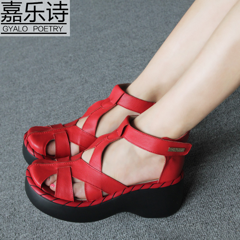 Gallop poem summer shoes handmade retro hollow sen female muffin slope with thick crust leather casual roman sandals cool boots