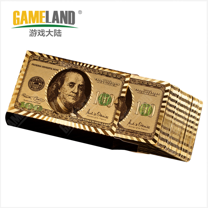 Game mainland gold foil plastic poker texas hold'em poker baccarat mahjong poker dollars gold silver