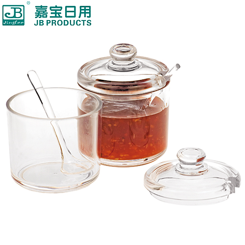 Garbo 8207 transparent acrylic plastic salt shaker pepper seasoning spice jar sugar jar with lid spoon